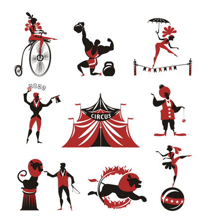 acrobatic: Circus  Collection of icons Illustration
