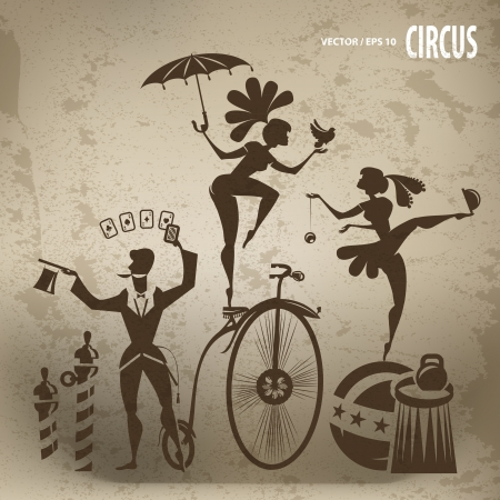 making a face: Circus artistas Vectores