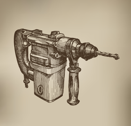 electric drill: Drill. Vector Format