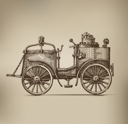 Steam car Vector