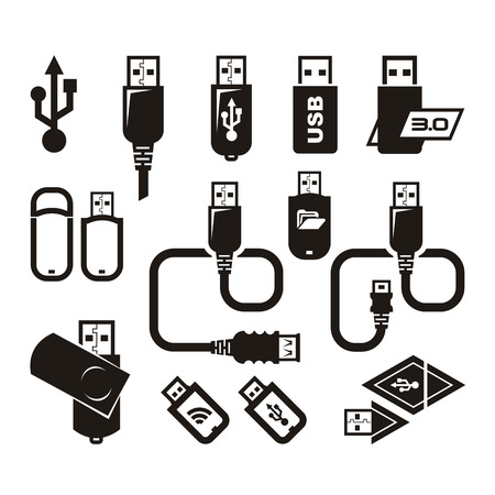flash drive: USB icons  Vector format
