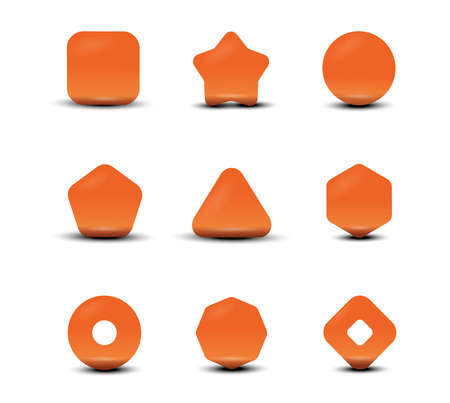triangle button: Set icons shapes Illustration