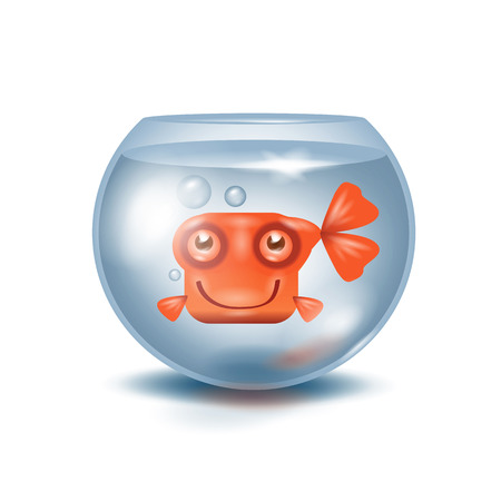 gold fish bowl: Aquarium  Goldfish Illustration