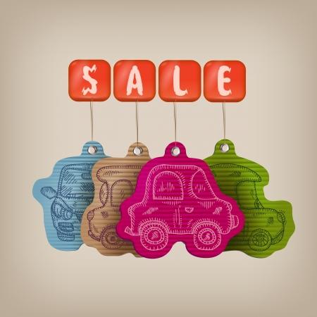 dealership: Car sale illustration