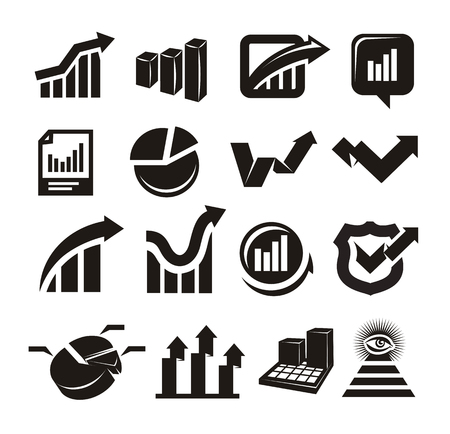 financial planning: vector charts icons set