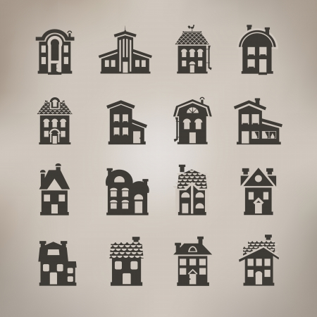 roof construction: House icons  Vector format