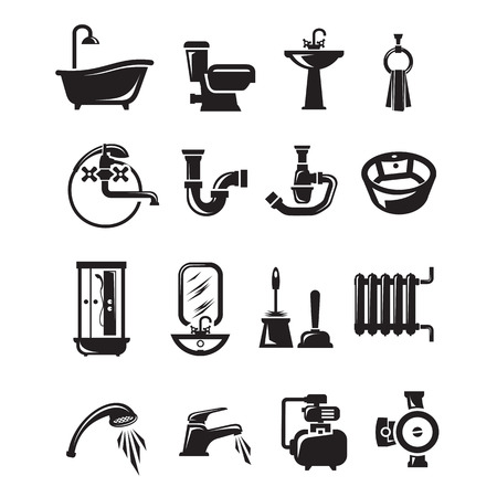 plumber with tools: Iconos Plomer�a. Formato vectorial