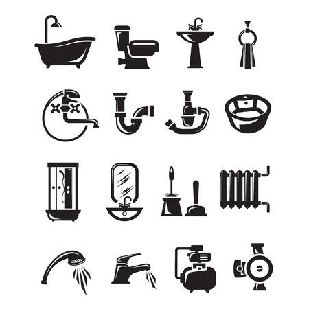 bomba de agua: Iconos Plomer�a. Formato vectorial