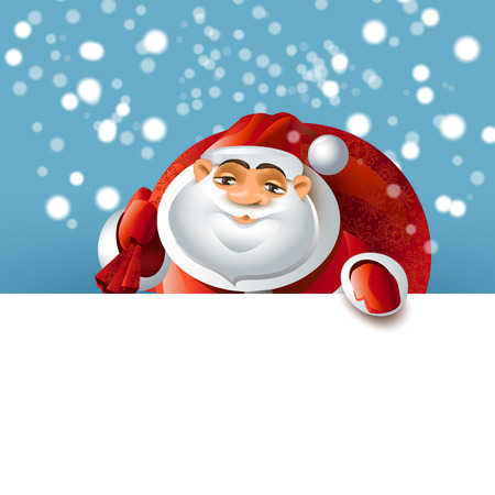 Santa Claus over white blank Vector