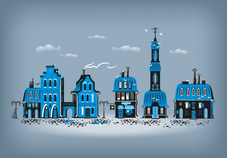 house series: Old city  Vector format Illustration