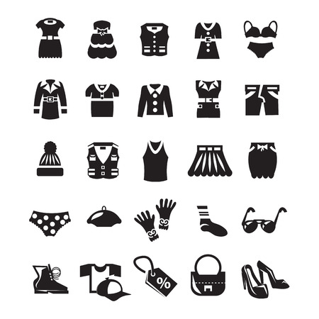 women s clothes: Clothes icon set Illustration