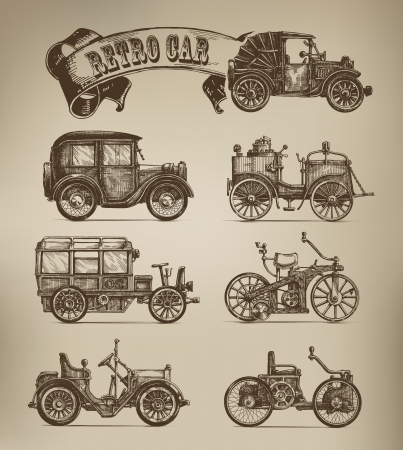 Retro cars vectors Stock Vector - 23236521