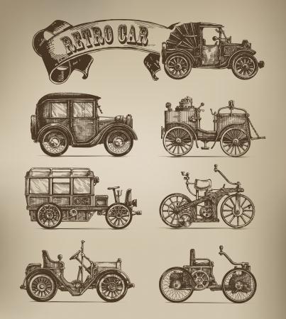 Retro samochody wektory Ilustracje wektorowe