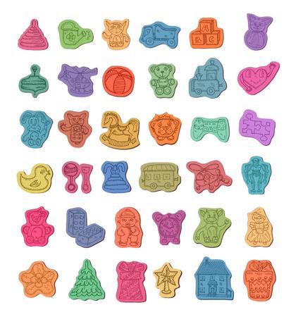 juguetes antiguos: Juguetes iconos Vectores