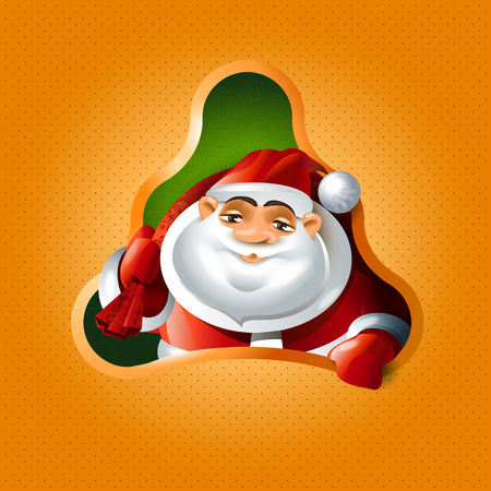 Christmas tree and Santa Claus Vector