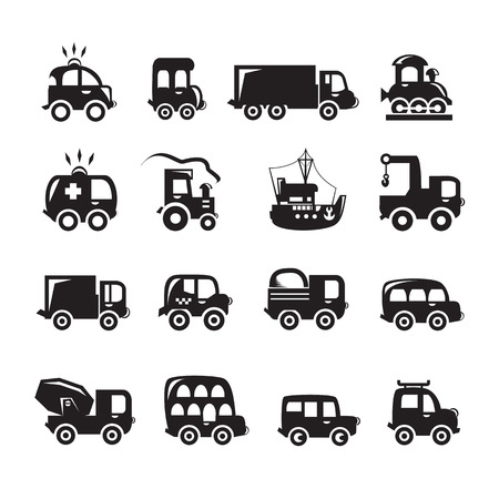 wheeled tractor: Car icons set