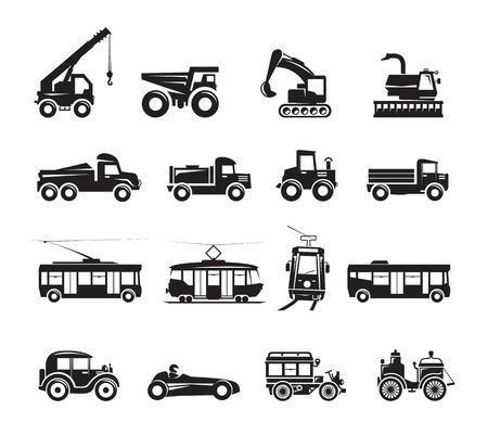 steam rally: Transportation icons set