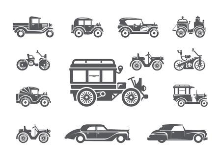 auto old: Coches antiguos. Iconos de serie