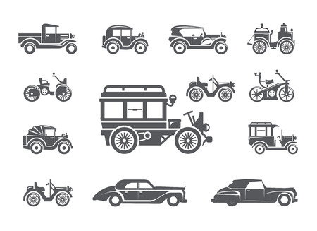 Vintage cars. Icons set Vector