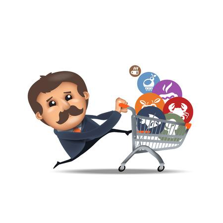 purchaser: Shopping cart. Vector format