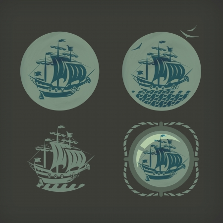 vecchia nave: Old formato ship Vector