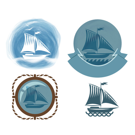 sailer: Ship icons  Vector format Illustration