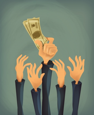 greenbacks: Money in hand  Vector format