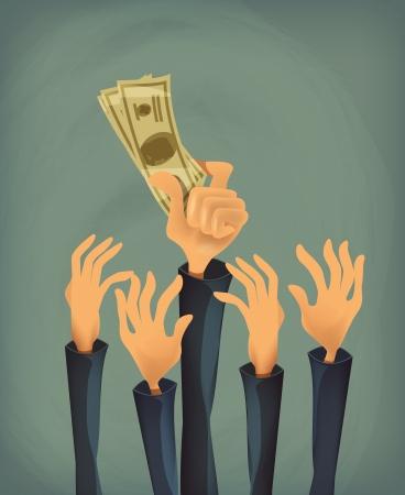 greenbacks: Money in hand  Vector format