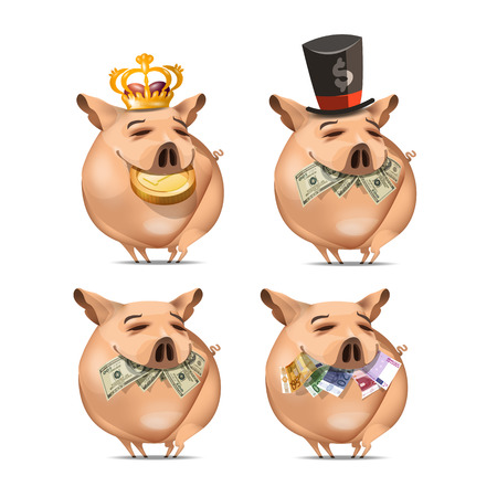 Pig and money   Vector