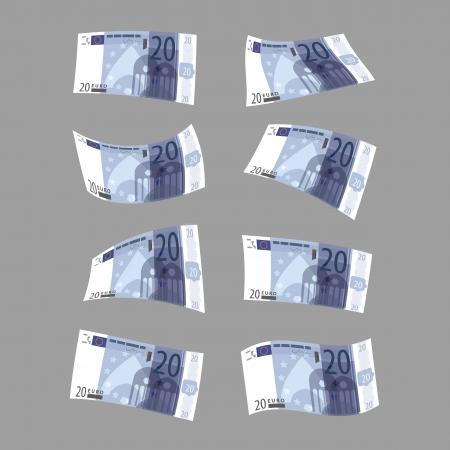 greenbacks: Twenty euros  Vector format