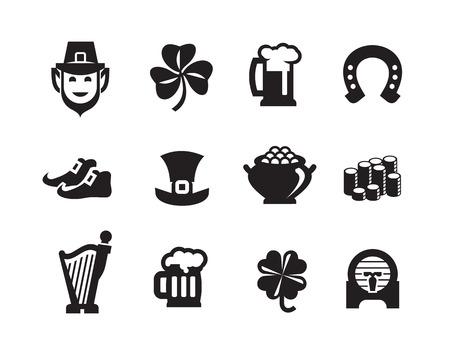 buena suerte: St Patrick s Day iconos en formato vectorial