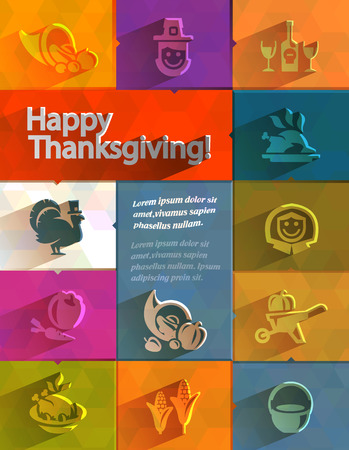 cornucopia: Happy Thanksgiving  Vector format