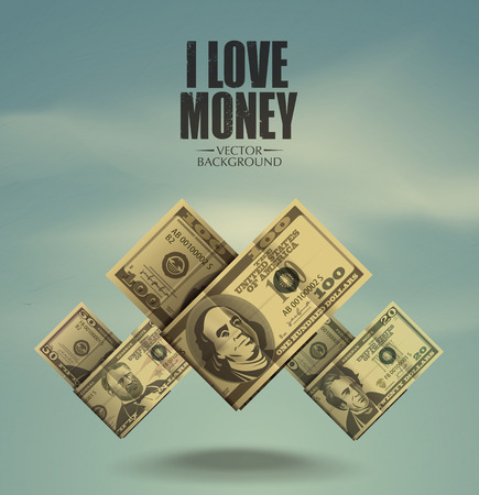 I love money  Dollars  Vector format Vector