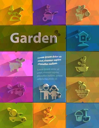 landscape gardener: Gargen icons  Vector format
