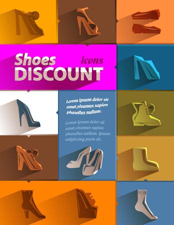 men's shoes: Shoes discount icons  Vector format