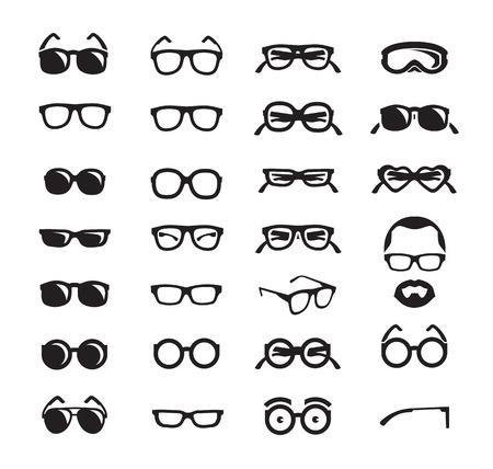 Glasses icons  Vector format Çizim