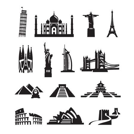 Welt Sehenswürdigkeiten Icons Vektor-Format Standard-Bild - 25896732