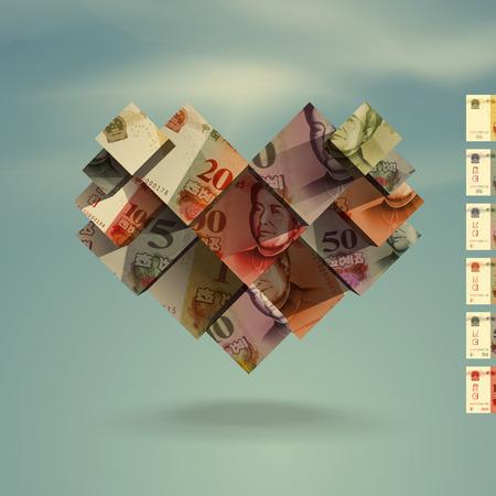yuan: Heart  Yuan  Vector format Illustration
