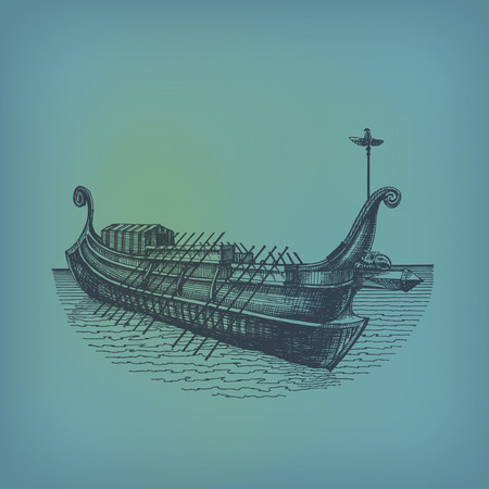 historical ship: Galley Vector format