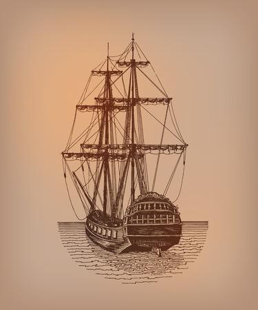 galleon: Frigate  Vector format Illustration