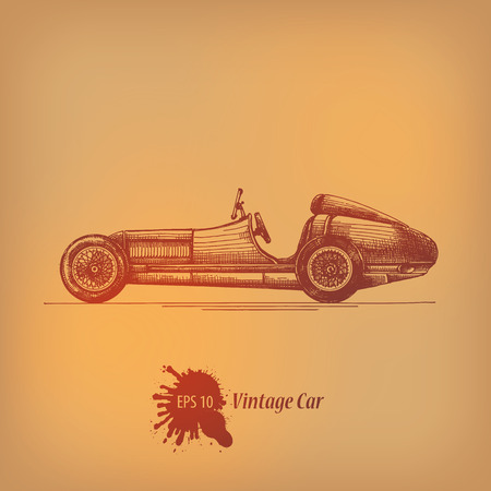 racer flag: Vintage car