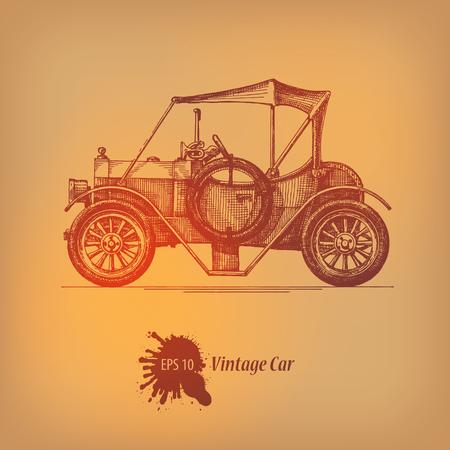restored: Vintage car  Vector format Illustration