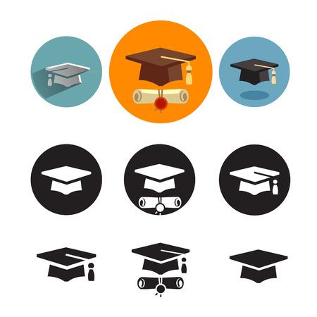 cap: Studies icons Illustration