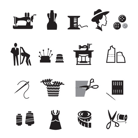 tailor measuring tape: Tailor icons set