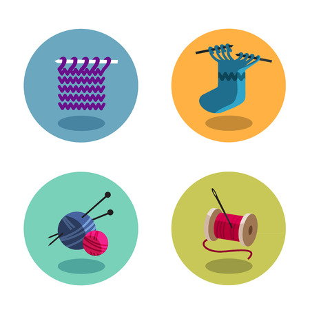 Knitting icons Vector