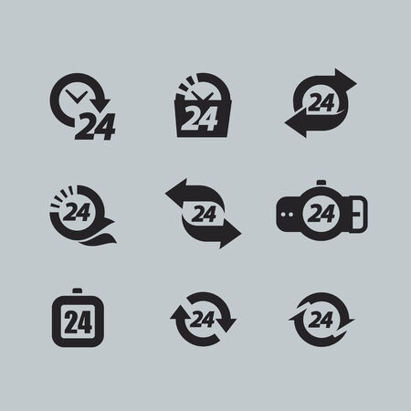 24 hours: Hour icons Illustration