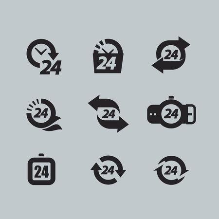 24h: Hour icons Illustration