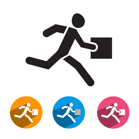 man carrying box: Courier icon  Vector format