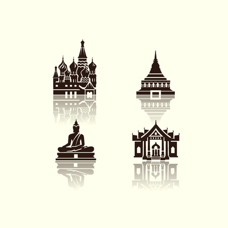 tempels: Journey iconen Vector-formaat Stock Illustratie