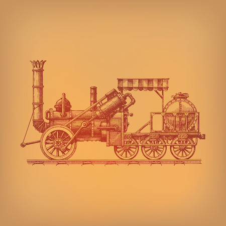 traction engine: Steam locomotive  Vector format